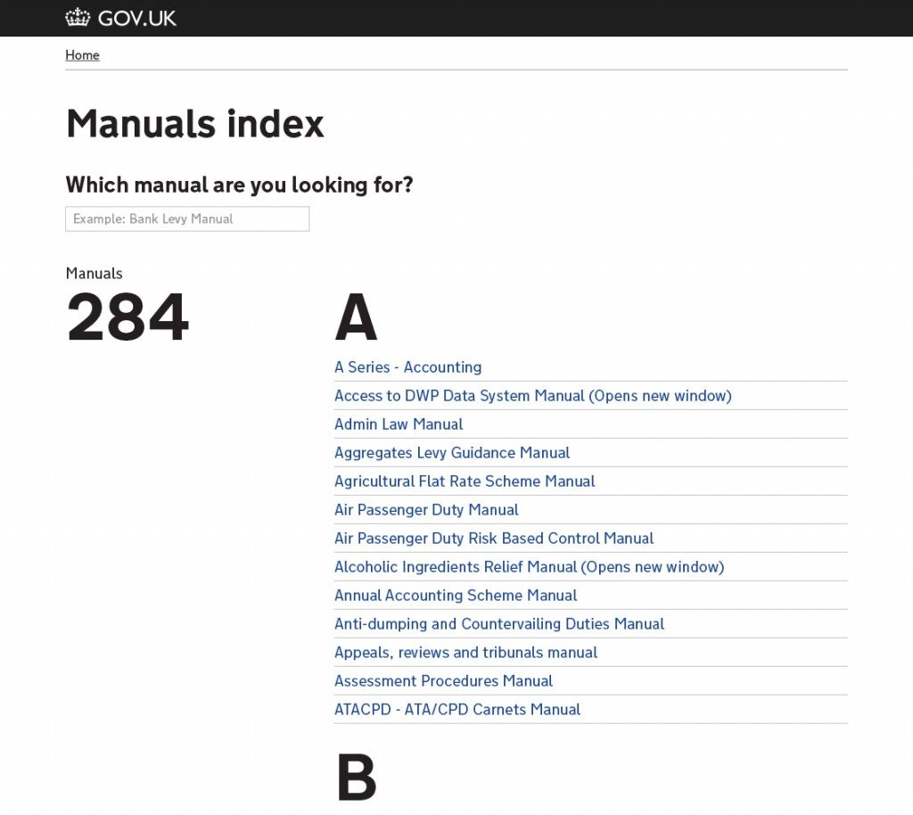 The top level index of manuals that is searchable using the search box that dynamically filters the list below.
