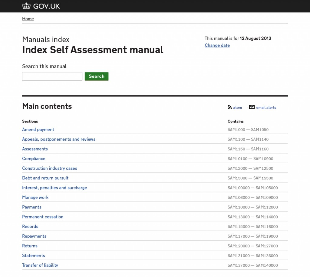 The top level of the self assessment manual