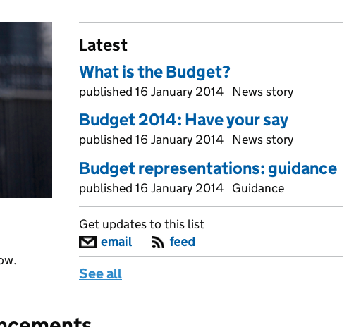 "See all updates on new documents tagged to the topic ""Budget 2014"""