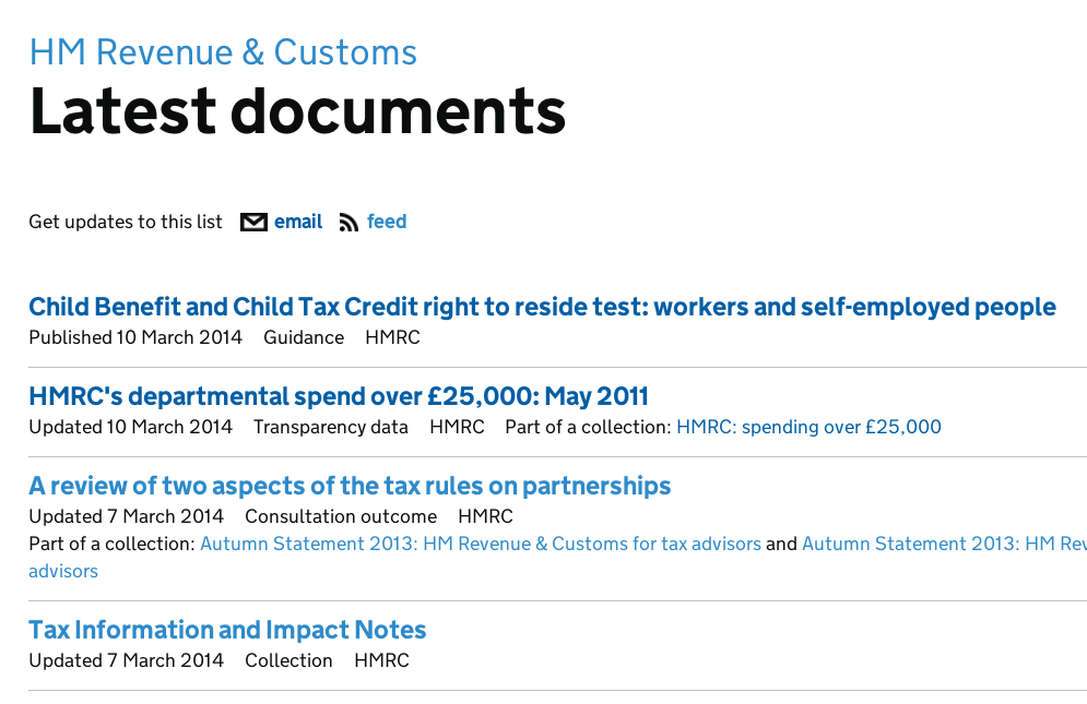 HMRC latest documents